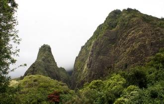 The Needle the caldera wall (right).