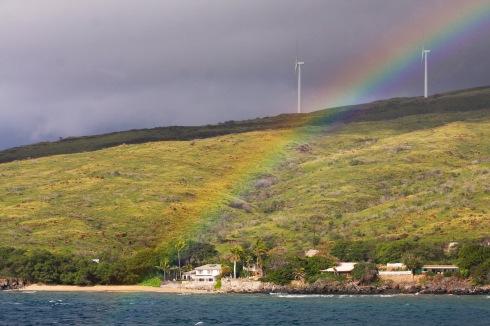 A Winter rainbow ends to 2014 whale-watching season on Ma'alaea Bay, south Maui.
