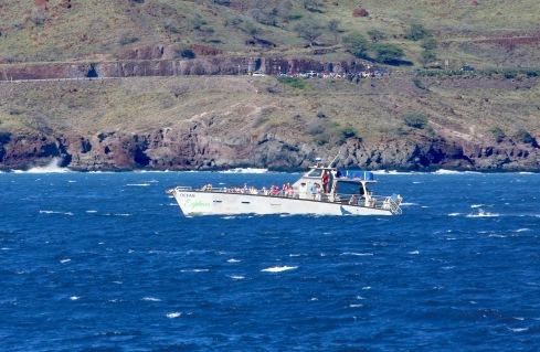 Pacific Whale Foundation's M/V Ocean Explorer plowing through heavy seas off Papawai Point, Ma'alaea Bay, Maui.